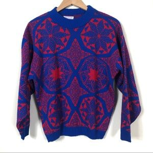 Bright Blue and Red Vintage 1980's Acrylic Sweater
